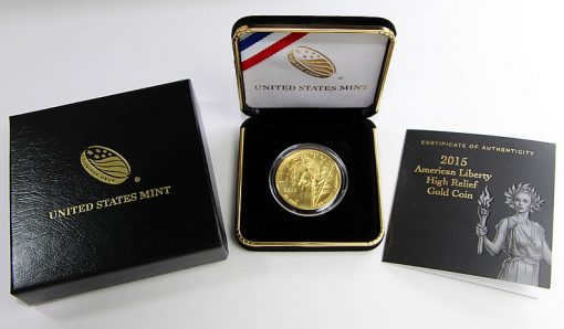 2015-W $100 American Liberty High Relief Gold Coin, Case and Certificate
