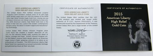 2015-W $100 American Liberty High Relief Gold Coin, Certificate of Authenticity
