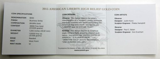 2015-W $100 American Liberty High Relief Gold Coin Specifications