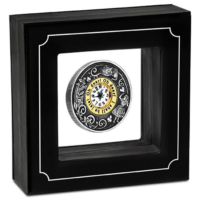 Alice's Adventures in Wonderland 2015 Silver Antiqued Clock Coin and Presentation Case