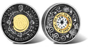 2015 Antiqued Clock Coin Depicts Alice's Adventures in Wonderland