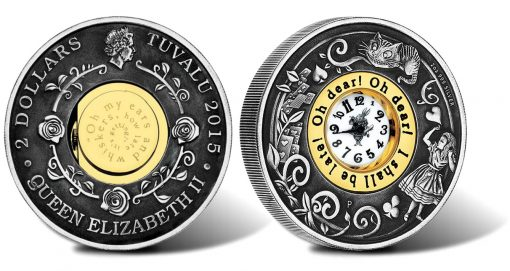 Alice's Adventures in Wonderland 2015 Silver Antiqued Clock Coin
