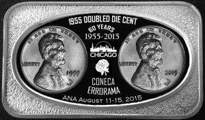 CONECA Lincoln Doubled Die Silver Bars for 60th Anniversary