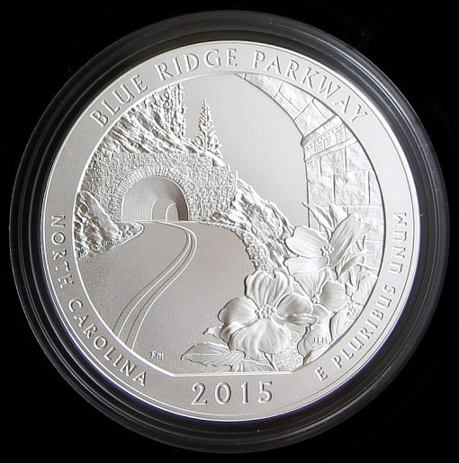 Collector 2015-P Blue Ridge Parkway Five Ounce Silver Uncirculated Coin