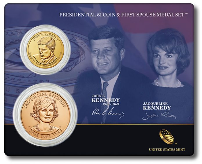 Kennedy Presidential $1 Coin and First Spouse Medal Set