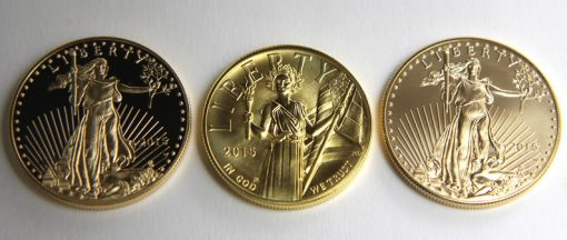 Obverses of 2015 Proof Gold Eagle, 2015 American Liberty High Relief and 2015 Uncirculated Gold Eagle
