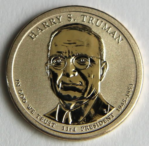 Photo of 2015-P Reverse Proof Harry S. Truman Presidential $1 Coin, Obverse