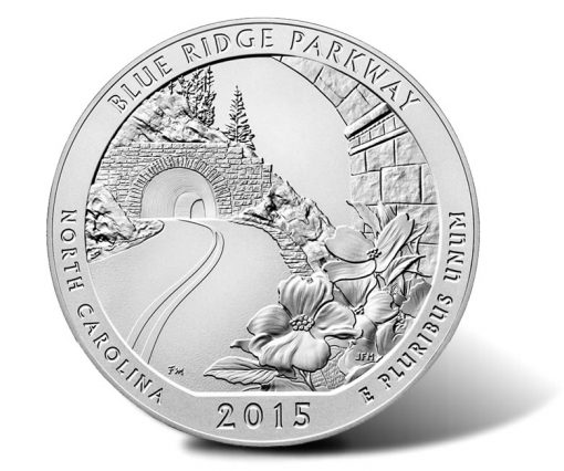 Reverse of 2015-P Blue Ridge Parkway Five Ounce Silver Uncirculated Coin