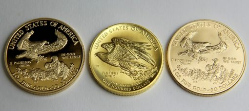 Reverses of 2015 Proof Gold Eagle, 2015 American Liberty High Relief and 2015 Uncirculated Gold Eagle