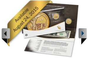 US Mint promotion image of 2015 American $1 Coin and Currency Set