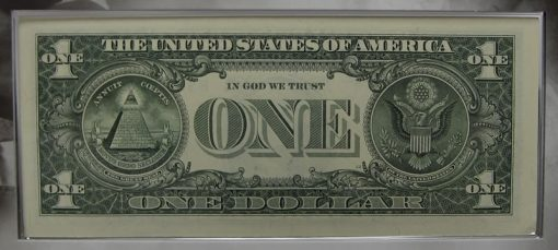 2013 $1 Federal Reserve note, back