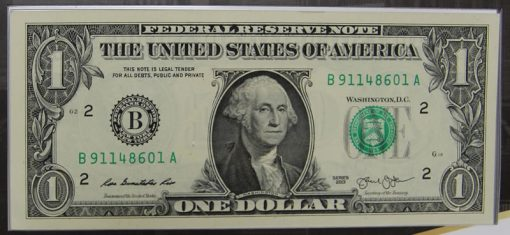 2013 $1 Federal Reserve note, front