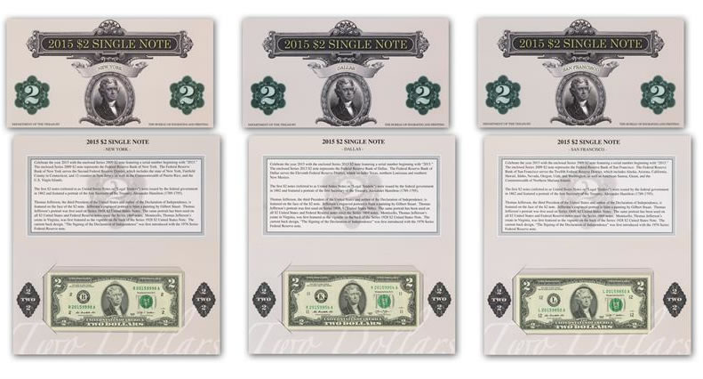 2015 2 Single Note Collection Includes Three Banknotes – Collection Note