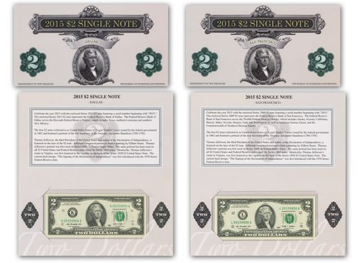 2015 $2 Single Note Dallas and San Francisco