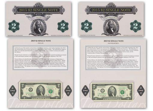 2015 $2 Single Note Dallas and San Francisco