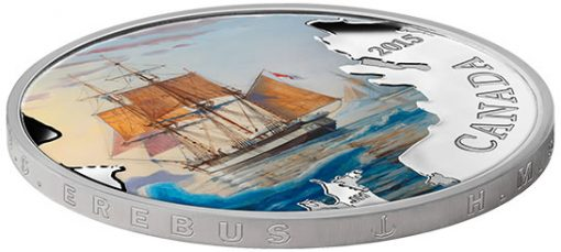 2015 $20 Franklin's Lost Expedition Silver Coin, edge