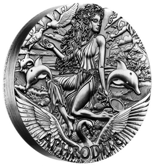 2015 Aphrodite High Relief 2 oz Silver Coin - Reverse