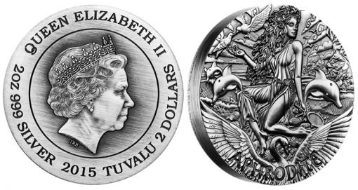 2015 Aphrodite High Relief Silver Coin Goddesses of Olympus Series