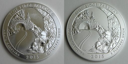 2015 Blue Ridge Parkway 5 Oz Silver Bullion and Uncirculated Coins, Reverses