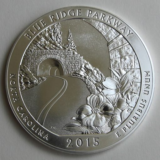 2015 Blue Ridge Parkway Five Ounce Silver Bullion Coin, Reverse