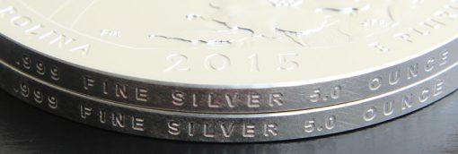 2015 Blue Ridge Parkway Five Ounce Silver Coin Edges