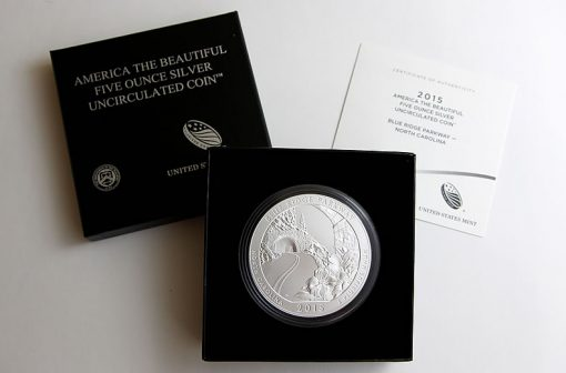 2015-P Blue Ridge Parkway Five Ounce Silver Uncirculated Coin, Case and Certificate