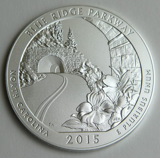 2015-P Blue Ridge Parkway Five Ounce Silver Uncirculated Coin, Reverse