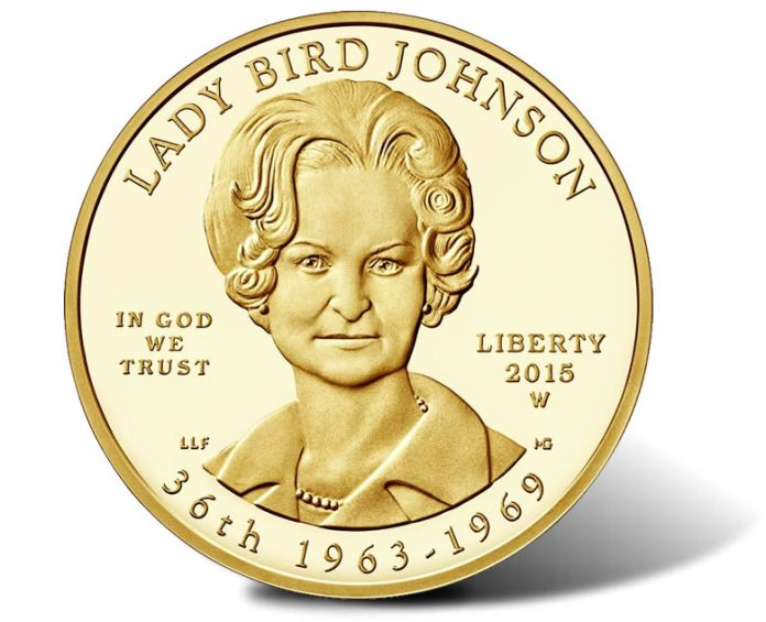 2015-W $10 Proof Lady Bird Johnson First Spouse Gold Coin, Obverse