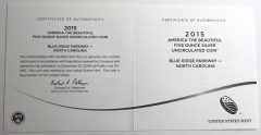 Blue Ridge Parkway 5 oz Silver Uncirculated Coin Certificate of Authenticity