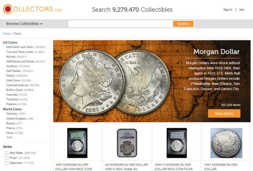 Collectors.com screenshot, coin area