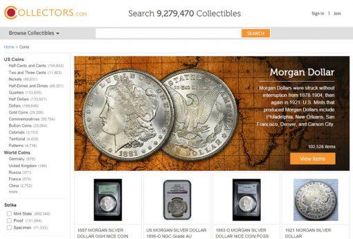 Collectors.com screenshot, coin area