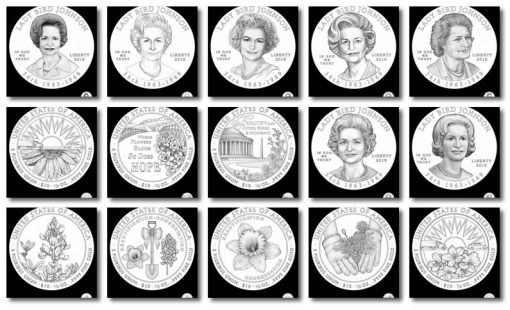 Design Candidates for 2015 Lady Bird Johnson First Spouse Gold Coins