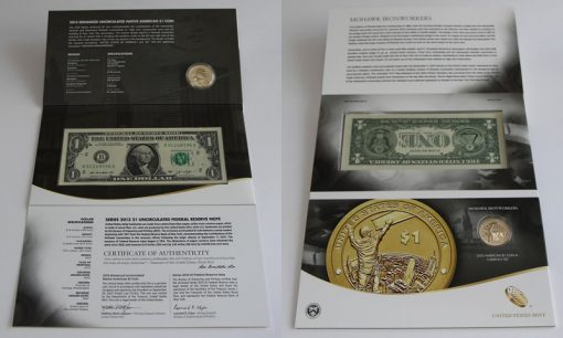Front and Back of 2015 American $1 Coin and Currency Set