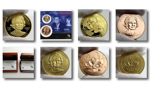 Jacqueline Kennedy First Spouse Gold Coin and Bronze Medal Photos