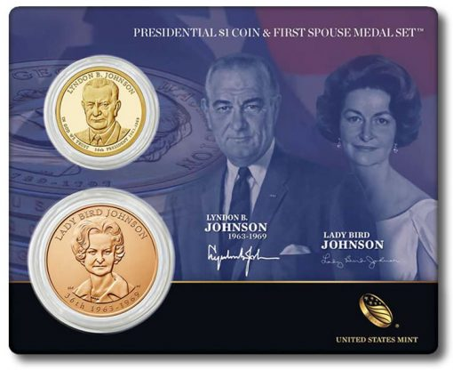 Johnson Presidential $1 Coin and First Spouse Medal Set