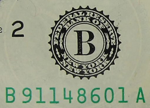 New York designation on 2013 $1 Federal Reserve note
