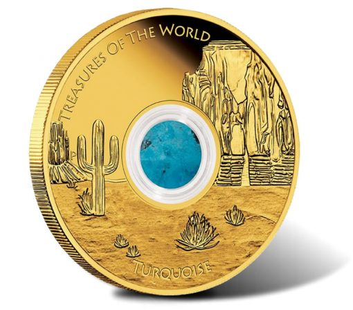 North America 2015 1oz Gold Proof Locket Coin with Turquoise