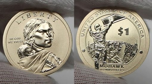 Obverse and reverse of a 2015-W Enhanced Uncirculated Native American $1 Coin