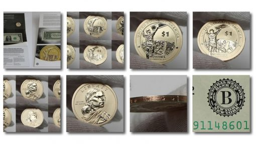 Photos of coins and $1s in 2015 American $1 Coin and Currency Set
