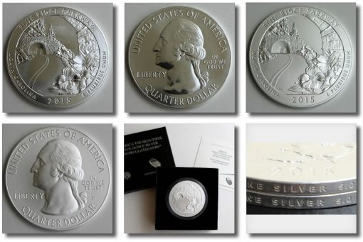 Photos of the bullion and uncirculated 2015 Blue Ridge Parkway Five Ounce Silver Coins
