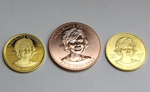 Proof coin, bronze medal and uncirculated coin featuring Jacqueline Kennedy