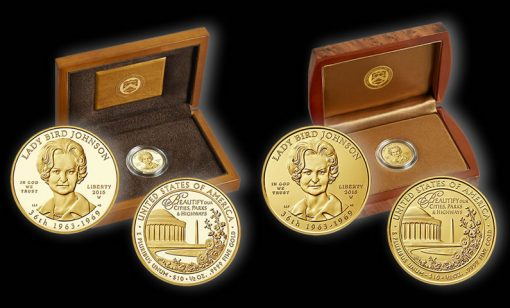 Proof and Uncirculated 2015 Lady Bird Johnson First Spouse Gold Coins and Presentation Cases