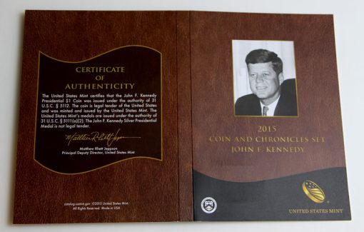 2015 John F. Kennedy Coin and Chronicles Set Cert
