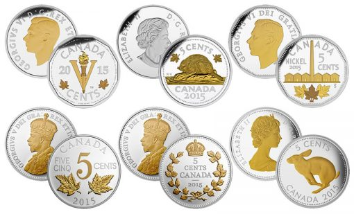 2015 Legacy of Canadian Nickels Silver Coins
