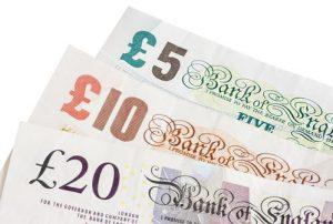 British five, ten and twenty pound notes