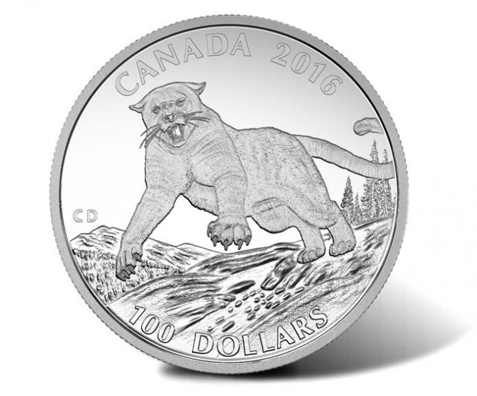 Canadian 2016 $100 Cougar Silver Coin