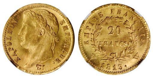 1813-W Napoleon 20 Franc