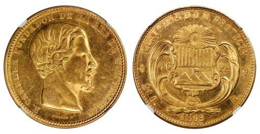 1869-R Guatemala 16 Peso
