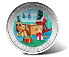 Canadian 2015 50c Holiday Toy Box Coin Features 3D Effect