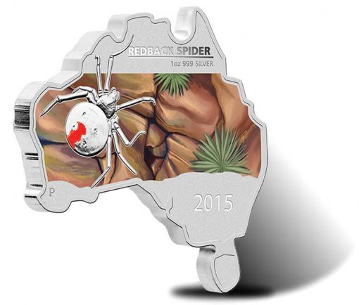 2015 Australian Map Shaped Redback Spider Silver Coin
